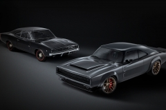 """The Dodge """"Super Charger"""" Charger Concept (front) incorporates modern elements, including the new 1,000 horsepower """"Hellephant"""" 426 Supercharged Mopar Crate HEMI® Engine, to reimagine the classic 1968 Dodge Charger (back)."""