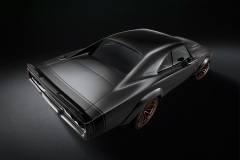 """The 1968 Dodge """"Super Charger"""" Concept assumes a """"wide body"""" stance thanks to front and rear fiberglass wheel flares painted """"De Grigio"""" Grey Metallic body color. Front wheels push forward two inches to accommodate the flares and shorten the Charger's overhang, extending the classic's wheelbase from 117 inches to 119 inches."""