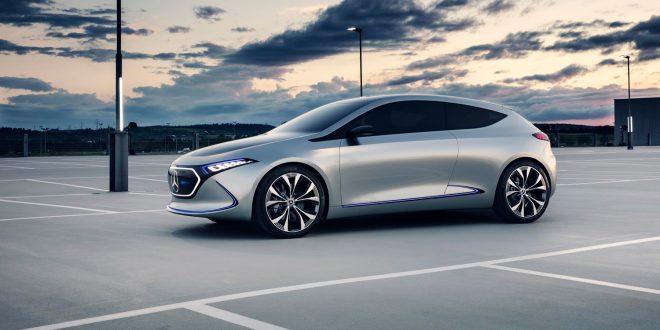 Mercedes satser hardt på elbiler, og her Concept EQA. (Foto: Mercedes)