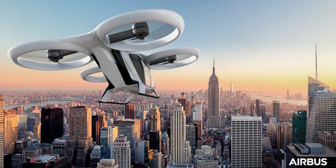 Dette kan bli et vanlig syn i framtiden. Giganten Airbus utvikler nemlig flyvende taxier. (Foto: Aibus)