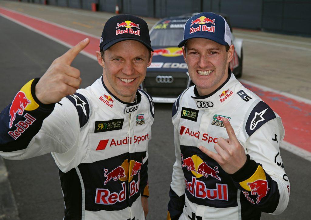 Mattias Ekström (t.v.) og Andreas Bakkerud. (Foto: Audi)