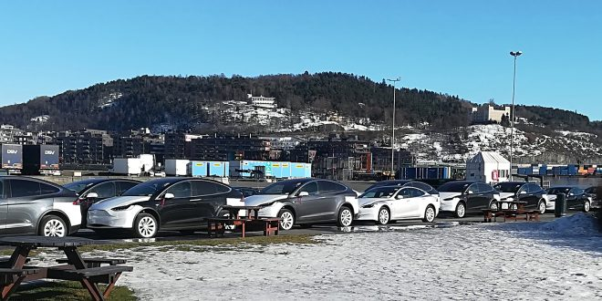 Foreløpig fortsetter elbil-boomen i Norge. Her en kø med Tesla-biler på kaia i Oslo. (Foto: Bil24)