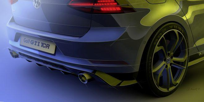 Dette er den nye Golf GTI TCR. Eller litt av den. Den nye modellen blir vist fram senere i uka. (Foto: VW)