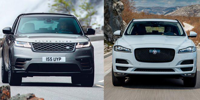Både Range Rover Velar (t.v.) og Jaguar F-Pace fornyes. (Alle foto: Jaguar)