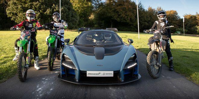 McLaren Senna er stjernen i et nytt bilspill, og feirer med en konkurranse mot tre motocrossere. (Alle foto: McLaren)