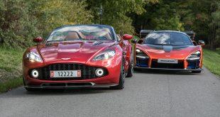 Oslo Motor Show viser fram to av Arne Fredlys perler, Aston Martin Vanquish Zagato Speedster og McLaren Senna (t.h.). (Alle foto: OMS)