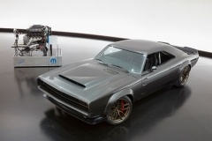 "The 1968 Dodge ""Super Charger"" Charger Concept incorporates modern touches, including the new 1,000 horsepower ""Hellephant"" 426 Supercharged Mopar Crate HEMI® Engine, shown in background, to reimagine one of the most iconic vehicles ever built by FCA US."