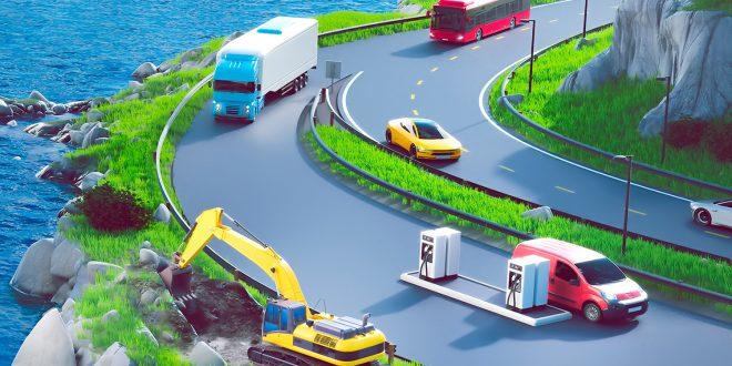 Her ser du en gravemaskin, en buss, en bil, en varebil og en lastebil. I framtiden er de alle utslippsfrie. (Illustrasjon: Enova)