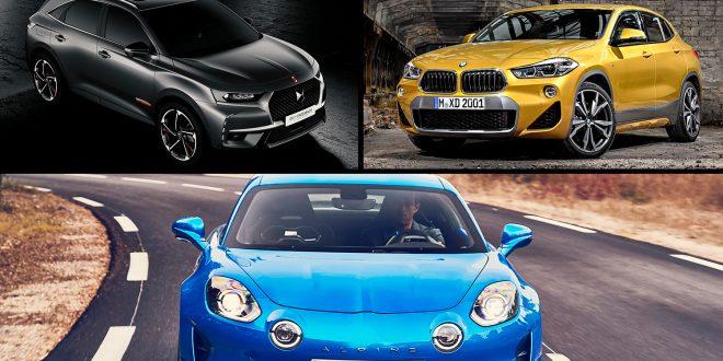 Her er de tre som var i finalen i kampen om å bli pprets vakreste, Alpine A110 (under), DS 7 Crossback (venstre) og BMW X2. (Foto: Alpine/BMW/DS)