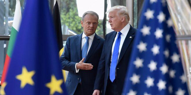 Donald Trump er nå fornøyd med EU. Her sammen med Donald Tusk, president for det europeiske råd. (Foto: EU)