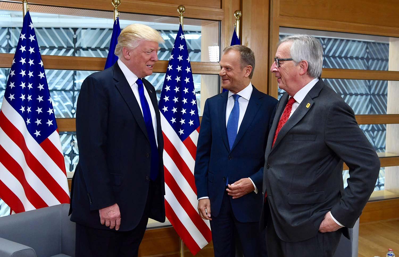 Donald Trump møtte i juli EU. Her sammen med  Donald Tusk (midten) og Jean-Claude Juncker. (Foto: EU)