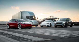 Skattefradraget som amerikanske Tesla-kunder får minsker snart. Her Tesla Semi, Model 3, Model S og Model X. (Begge foto: Tesla)