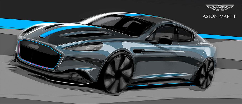 Slik ser Rapide E ut på en illustrasjon Aston Martin publiserte i fjor. (Foto AM)