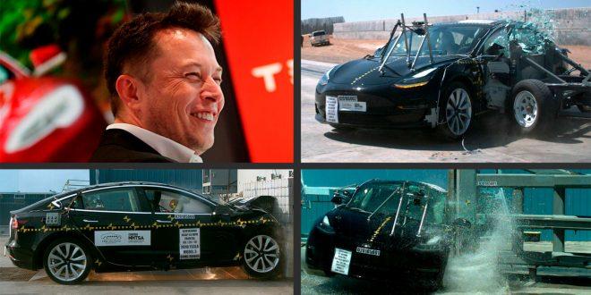 Tesla Model 3 fikk 5 stjerner i en amerikansk kollisjonstest. Sjefen Elon Musk er fornøyd. (Foto: NHTSA/Tesla)