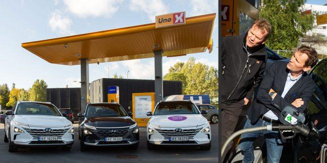 Roger Hertzenberg i Uno-X sier at de planlegger minst 20 hydrogenstasjoner. Her sammen med Jon André Løkke (t.h.) i NEL. Til venstre den nye Hyundai Nexo. (Foto: Hyundai/Patchwork)