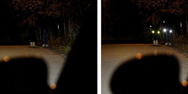 Dette bildet illustrerer forskjellen med og uten refleks. Skummelt. (Foto: NAF)