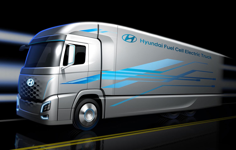 Dette er Hyundais hydrogen-lastebil. (Foto: Hyundai)