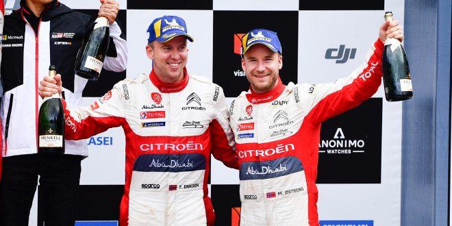 Kartleser Torstein Eriksen (t.v.) og Mads Østberg kunne juble for en opptur i årets siste VM-rally. (Alle foto: Citroën)