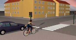 Sykler du over gangfelt, har du vikeplikt for kryssende trafikk uavhengig av om lyset er grønt eller rødt. (Illustrasjon: Knut August Johansen)