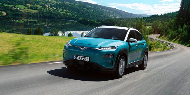 Hyundai Kona electric's nye rekkevidde lyder på 449 kilometer. (Foto: Hyundai)