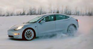 Takler Tesla Model 3 norske vinterforhold? Skal vi dømme etter en video fra Tesla er svaret ja. (Foto: Tesla)
