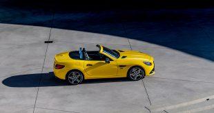 Mercedes sier adjø til SLC (tidligere SLK), og knaller til med en solgul versjon. (Alle foto: Mercedes)