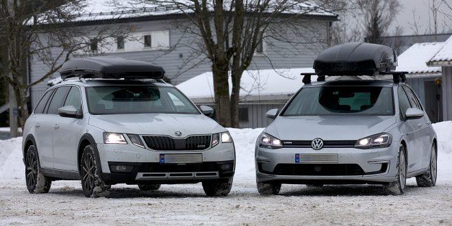 Hvordan klarer en Volkswagen e-Golf seg mot Skoda Octavia stasjonsvogn i en forbrukstest med takbokser? (Begge foto: NAF)