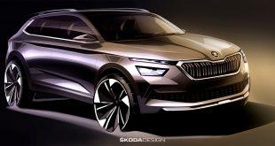 Denne skissen viser Skodas tredje SUV-modell kalt Kamiq. (Alle foto: Skoda)