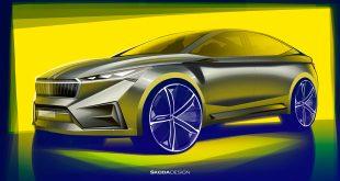 Skoda viser fram en ny elbil, Vision iV. (Alle foto: Skoda)