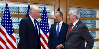 Donald Trump har møtt EU flere ganger, og her er han sammen med Donald Tusk (midten) og Jean-Claude Juncker. (Foto: EU)