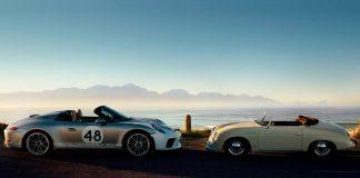 Porsche viser nå fram en produksjonsmodell av 911 Speedster. Ja, den til venstre her. (Alle foto: Porsche)