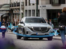 Elbilene må nå lage lyder, og Mercedes har nå lyttet seg ferdig når det kommer til EQC. (Begge foto: Daimler)