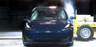 Tesla Model 3 er endelig testet av Euro NCAP, og den oppnådde 5 stjerner. (Begge foto: Euro NCAP)