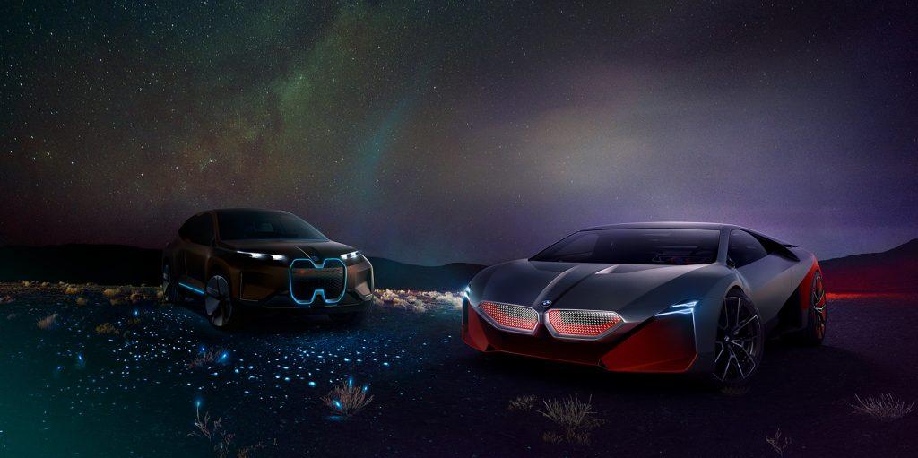 Til venstre BMW Vision iNext og til høyre BMW Vision M Next.