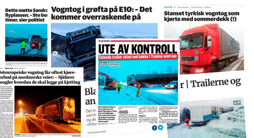 Her har Norges Lastebileier-Forbund samlet noen presseklipp rundt forrige vinters mange ulykker.