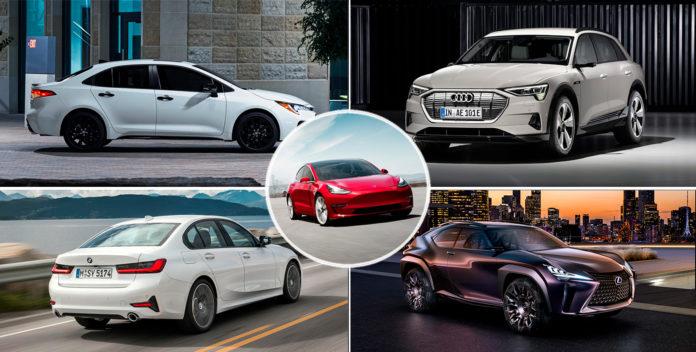 Finalistene til årets bil valgt av kvinnene er klare. Her Toyota Corolla, Audi e-tron, BMW 3-serie, Lexus UX og Tesla Model 3. (Foto: Toyota/Audi/Tesla/BMW/Lexus)