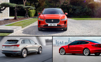 Denne trioen stakk av med tyske gullratt. Øverst Jaguar I-Pace, til venstre Audi e-tron og til høyre Tesla Model 3. (Foto: JLR/Audi/Tesla)