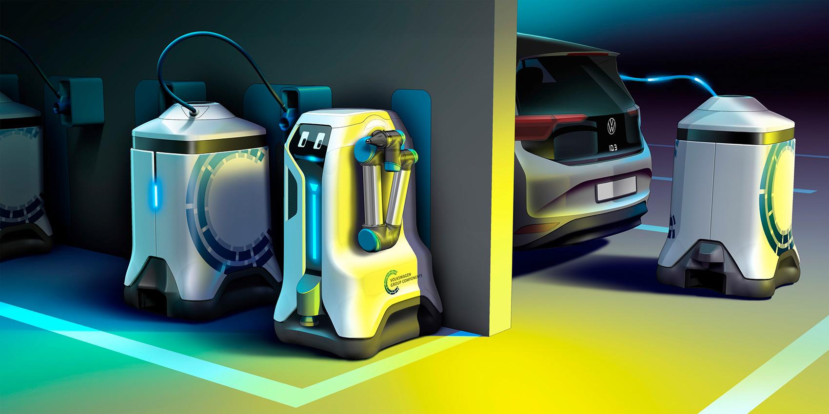 Volkswagen har utviklet en løsning som gjør at elbilene kan lades av en robot. (Alle foto: VW)