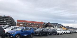 Her ankommer den første lasten med MG ZS EV Drammens havn. (Alle foto: MG Norge)