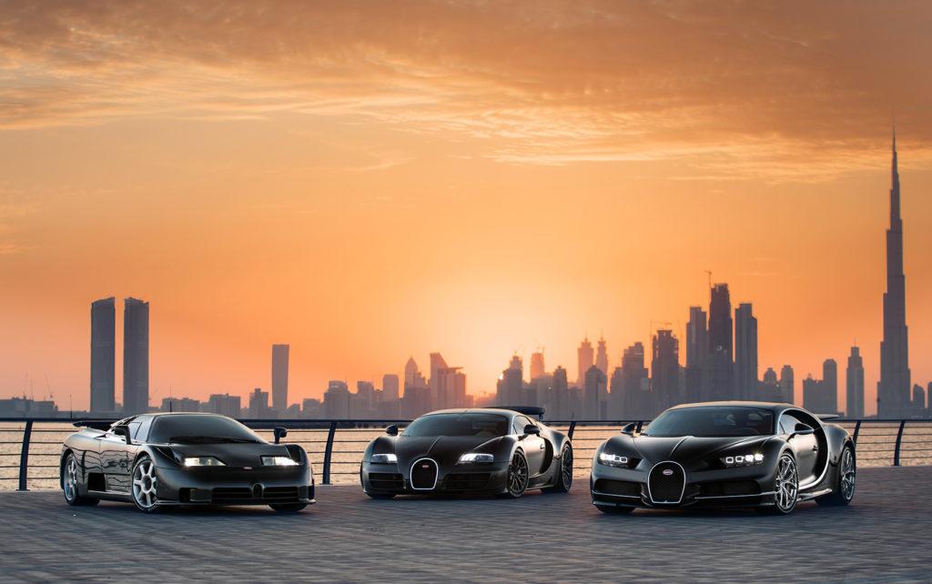 En hellig trio, EB110, Veyron 16.4 og Chiron.