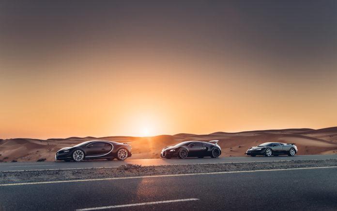 Sjekk denne trioen, fra venstre Bugatti Chiron, Bugatti Veyron 16.4 og Bugatti EB110. (Fotos: Bugatti)
