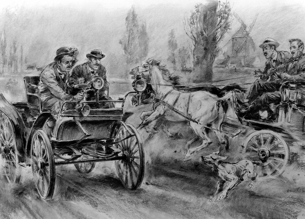 Denne tegningen viser Emile Roger i en 3-hp Benz Vis-à-Vis under Paris-Rouen i 1894. (Foto: Daimler)