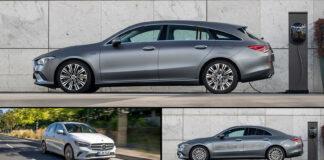 Mercedes utvider nå sortimentet, og har klar tre ladbare hybrider i kompaktklassen. Øverst Mercedes CLA 250e Shooting Brake, til venstre Mercedes B 250e og til høyre Mercedes CLA 250e Coupé. (Foto: Daimler)