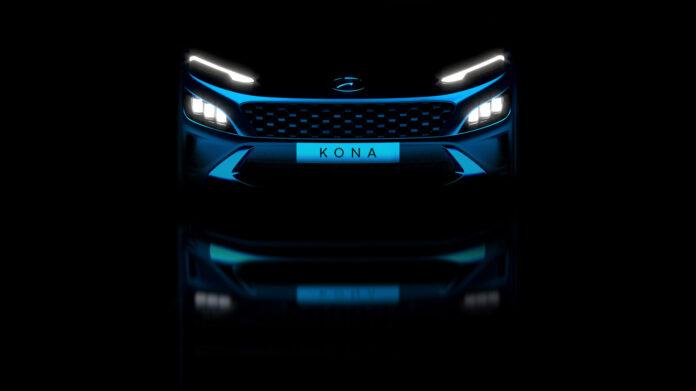 Hyundai har på gang en oppgradert utgave av Kona, og nå pirrer de med bilder av fronten. (Fotos: Hyundai)