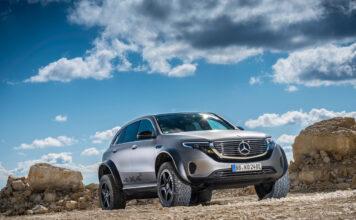 Mercedes har laget en utgave av elbilen EQC som spiser vanlige EQC til frokost. (Fotos: Mercedes)
