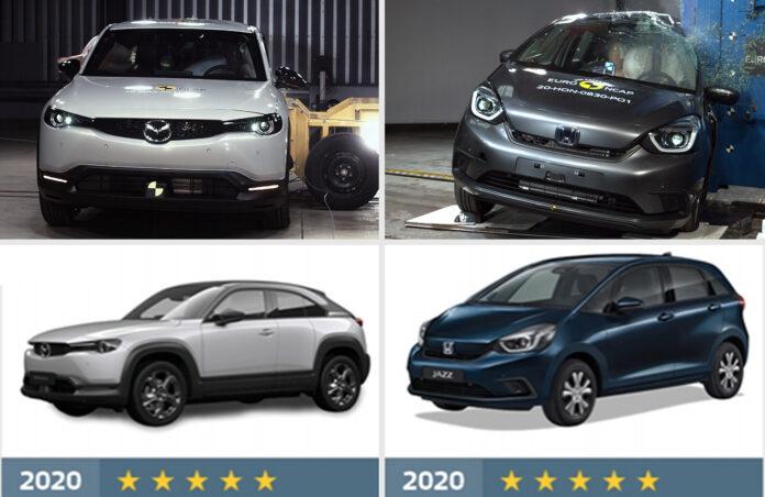 Mazda MX-30 og Honda Jazz kan skryte av 5 stjerner fra Euro NCAP. (Foto: Euro NCAP)