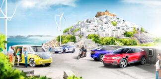En gresk middelhavsøy skal nå bli et elbil-paradis. (Fotos: Volkswagen)