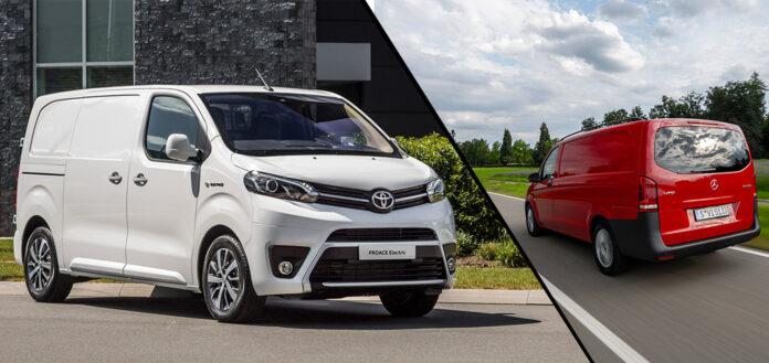 Enova gjør nå om på støtteordningen rundt elvarebiler, noe som får ulike konsekvenser for Toyota Proace (t.v.) og Mercedes Vito. (Foto: Toyota/Mercedes)