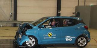 Hyundai i10 måtte nøye seg med 3 stjerner etter en ny runde med kollisjonstester. (Fotos: Euro NCAP)