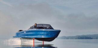 Dette er en helelektriske og litt flyvende båt. (Fotos: Candela)